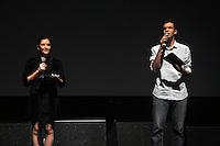 SAO PAULO, SP, 24 DE JULHO 2012 – Dubladores do filme Rio participa de Festival Anima Mundi em sessao de abertura para convidados no Memorial da America Latina, zona oeste de Sao Paulo, nesta noite de terca-feira. O festival internacional de animacao esta em sua 20ª edicao no pais e fica do dia 25 a 29 de julho. (FOTO: THAIS RIBEIRO / BRAZIL PHOTO PRESS).