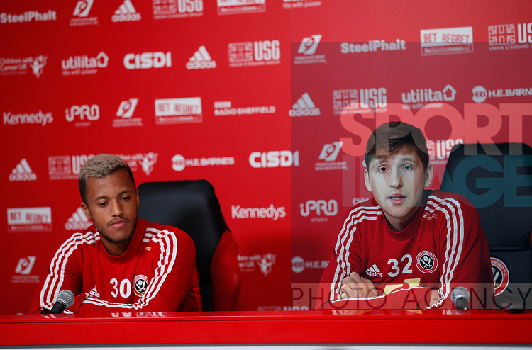Richairo Zivlovic and Panos Retsos of Sheffield Utd during the Press Conference & Training at the Steelphalt Academy, Sheffield. Picture date: 7th February 2020. Picture credit should read: Simon Bellis/Sportimage
