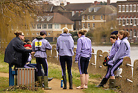 Chiswick, London. ENGLAND,11.03.2006, Durham University crew, recieve their final briefing from their coach by Tideway Scullers Club boat house. Women's Head of the River Race Mortlake to Putney  on Saturday 11th March    © Peter Spurrier/Intersport-images.com.. 2006 Women's Head of the River Race. Rowing Course: River Thames, Championship course, Putney to Mortlake 4.25 Miles