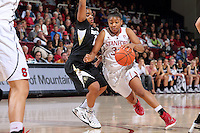 STANFORD, CA - January 3, 2015: Stanford Cardinal plays the Colorado Buffaloes at Maples Pavilion. The Cardinal defeated the Buffaloes 62-55.