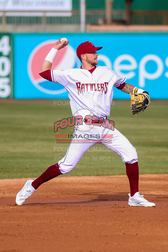 Wisconsin Timber Rattlers shortstop Brice Turang (2) throws to first base during a Midwest League game against the Burlington Bees on April 26, 2019 at Fox Cities Stadium in Appleton, Wisconsin. Wisconsin defeated Burlington 2-0. (Brad Krause/Four Seam Images)