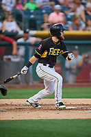 Jared Walsh (14) of the Salt Lake Bees bats against the El Paso Chihuahuas at Smith's Ballpark on August 13, 2018 in Salt Lake City, Utah. Salt Lake defeated El Paso 4-3. (Stephen Smith/Four Seam Images)