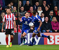 Chesterfield's Kristian Dennis, second in from left, celebrates scoring his sides first goal with team-mate Chris O'Grady<br /> <br /> Photographer Chris Vaughan/CameraSport<br /> <br /> The EFL Sky Bet League Two - Lincoln City v Chesterfield - Saturday 7th October 2017 - Sincil Bank - Lincoln<br /> <br /> World Copyright &copy; 2017 CameraSport. All rights reserved. 43 Linden Ave. Countesthorpe. Leicester. England. LE8 5PG - Tel: +44 (0) 116 277 4147 - admin@camerasport.com - www.camerasport.com