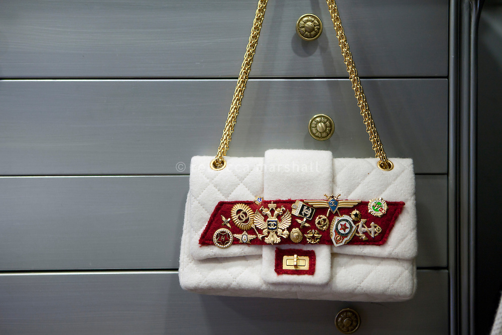 Vintage Chanel handbag on display at boutique 'Le Dressing', Rue Princesse Florestine, La Condamine, Monaco, 5 July 2013. The special edition bag is priced at 4250 euros.