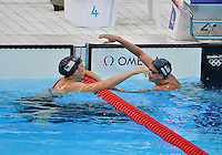 July 29, 2012..Breeja Larson and Rebecca Soni of the USA congratulate each other after competing in women's 100m Breaststroke semifinal at the Aquatics Center on day two of 2012 Olympic Games in London, United Kingdom.