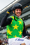HONG KONG - MAY 04:  Anton Marcus of South Africa riding Varity Club celebrates after wining The Champions Mile at Sha Tin racecourse on May 4, 2014 in Hong Kong, Hong Kong.  Photo by Aitor Alcalde / Power Sport Images