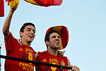 02.07.2012. Navas (l) and Cesc Fabregas during Tour of Madrid of the Spanish football team to celebrate their victory in Euro 2012 july 2012.(ALTERPHOTOS/ARNEDO)