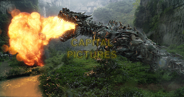 Grimlock with Optimus Prime<br /> in Transformers: Age of Extinction (2014) <br /> *Filmstill - Editorial Use Only*<br /> CAP/FB<br /> Image supplied by Capital Pictures