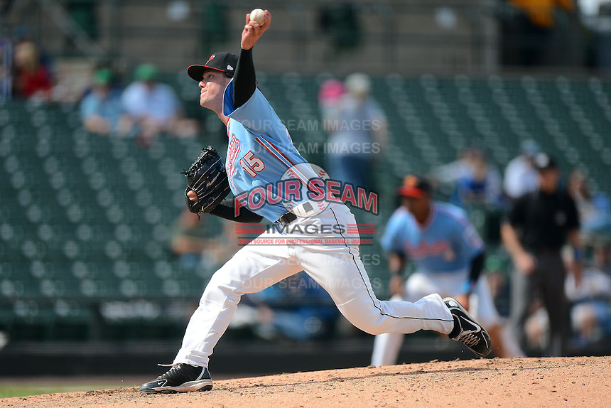 Rochester Red Wings releif pitcher Blake Martin #15 delivers a pitch during a game against the Gwinnett Braves on June 16, 2013 at Frontier Field in Rochester, New York.  Rochester defeated Gwinnett 6-3.  (Mike Janes/Four Seam Images)