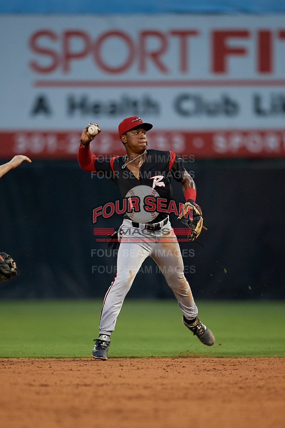 Richmond Flying Squirrels second baseman Jalen Miller (1) throws to first base during an Eastern League game against the Bowie Baysox on August 15, 2019 at Prince George's Stadium in Bowie, Maryland.  Bowie defeated Richmond 4-3.  (Mike Janes/Four Seam Images)