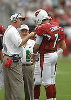 Aug 18, 2007; Glendale, AZ, USA; Arizona Cardinals quarterback Matt Leinart (7) talks with head coach Ken Whisenhunt during the game against the Houston Texans at University of Phoenix Stadium. Mandatory Credit: Mark J. Rebilas-US PRESSWIRE Copyright © 2007 Mark J. Rebilas