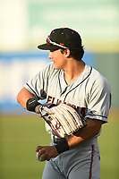Johnny Rizer (17) of the Delmarva Shorebirds warms up prior to game one of the Northern Division, South Atlantic League Playoffs against the Hickory Crawdads at L.P. Frans Stadium on September 4, 2019 in Hickory, North Carolina. The Crawdads defeated the Shorebirds 4-3 to take a 1-0 lead in the series. (Tracy Proffitt/Four Seam Images)