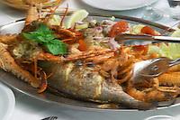 Seafood platter at Danny Restaurant. Prizba village. Korcula Island. Prizba, Riva Apartments, Danny Franulovic. Korcula Island. Dalmatian Coast, Croatia, Europe.