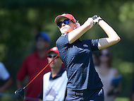 Owings Mills, MD - July 26, 2014: Paula Creamer, of Team USA, tees off on the 10th hole during Round 3 of four-ball competition at the LPGA International Crown at the Caves Valley Golf Club in Owings Mills, MD on July 26, 2014. 32 players from twelve countries competed in this inaugural tournament.  (Photo by Don Baxter/Media Images International)