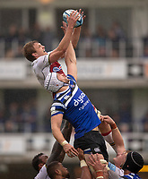 Northampton Saints' Jamie Gibson and Bath Rugby's Dave Attwood compete for a line out<br /> <br /> Photographer Bob Bradford/CameraSport<br /> <br /> Gallagher Premiership - Bath Rugby v Northampton Saints - Saturday 22 September 2018 - The Recreation Ground - Bath<br /> <br /> World Copyright &copy; 2018 CameraSport. All rights reserved. 43 Linden Ave. Countesthorpe. Leicester. England. LE8 5PG - Tel: +44 (0) 116 277 4147 - admin@camerasport.com - www.camerasport.com