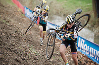 teammates Nikki Harris (GBR/Telenet-Fidea) &amp; Jolien Verschueren (BEL/Telenet-Fidea) in pursuit of Sanne Cant<br /> <br /> Jaarmarktcross Niel 2015  Elite Women's Race