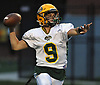 John DiBenedetto #9, Lynbrook quarterback, throws a pass while on the run during a Nassau County Conference III varsity football game against host South Side High School in Rockville Centre on Thursday, Sept. 27, 2018. South Side won by a score of 28-13.
