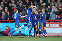 Lee Cook of Leyton Orient is mobed by team-mates after scoring the winning goal.- Stevenage v Leyton Orient - npower League 1 - Lamex Stadium, Stevenage - 2nd January 2012  .© Kevin Coleman 2012