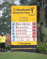 Scoreboard showing the contenders to the title during the Final Round of the 2014 Maybank Malaysian Open at the Kuala Lumpur Golf & Country Club, Kuala Lumpur, Malaysia. Picture:  David Lloyd / www.golffile.ie