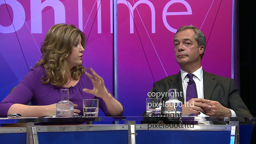 BBC Question Time:<br /> Penny Mordant and Nigel Farage appeared on the show together.<br /> <br /> <br /> <br /> <br /> Pic supplied by Pixel 8000 Ltd