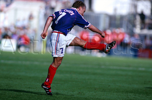 28.06.1998 Lens, France Didier Deschamps in action for France against Paraquay in the 1998 World Cup Round of 16 at the Stade Félix Bollaert, Lens