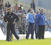 KERRY V LAOIS<br /> Laois's Manager Mick O'Dwyer and Kerry Manager Jack O'Connor during  the league semi-final in Killarney on Sunday.<br /> picture by Don MacMonagle