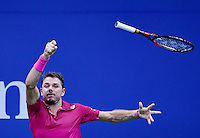 NEW YORK, USA - SEPT 09, Stan Wawrinka of Switzerland losses his racket after returning a shot against Kei Nishikori of Japan during their Men's Singles Semifinal Match of the 2016 US Open at the USTA Billie Jean King National Tennis Center on September 9, 2016 in New York.  photo by VIEWpress
