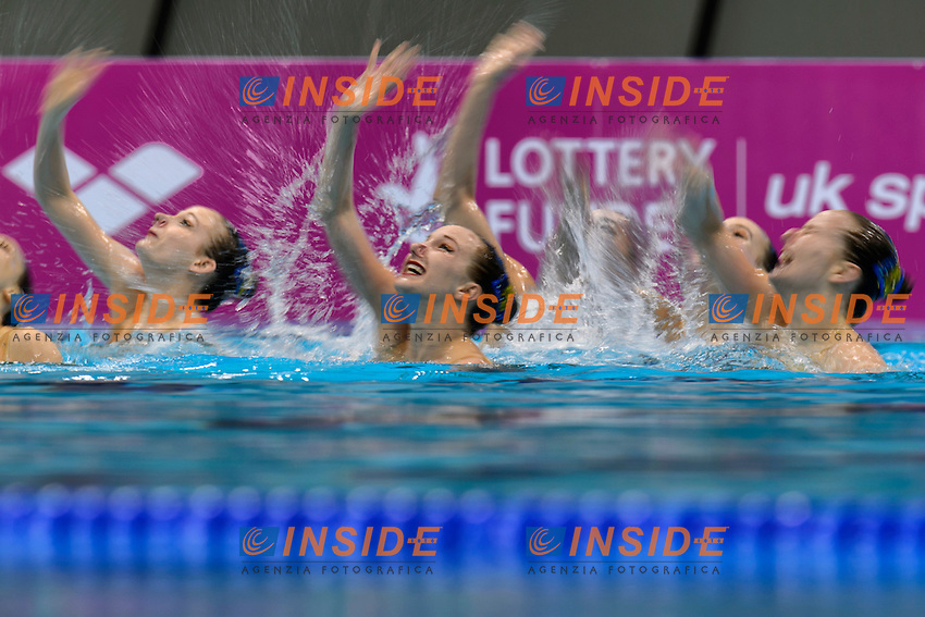 Team SWITZERLAND SUI <br /> BELLINA Maxence, PIFFARETTI Maria, KOCH Vivienne, FLURI Christine, NYDEGGER Michelle, PESCHL Joelle, PESCHL Noemi, <br /> WEIBEL Sarina<br /> Team Technical Final <br /> London, Queen Elizabeth II Olympic Park Pool <br /> LEN 2016 European Aquatics Elite Championships <br /> Synchronized Swimming <br /> Day 01 09-05-2016<br /> Photo Andrea Staccioli/Deepbluemedia/Insidefoto