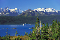 Holland America cruise ship, College Fjord, Chugach mountains, Prince William Sound, Alaska