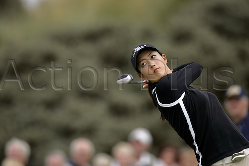 30 July 2005: American golfer Michelle Wie (USA) looks into the distance after playing from the 10th tee during the Weetabix Women's British Open Championship played at Royal Birkdale. Photo: Glyn Kirk/Actionplus....050730 female woman