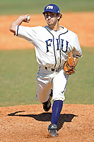 28 February 2010:  FIU's Aaron Arboleya (29) pitches in the fifth inning as the FIU Golden Panthers defeated the Oral Roberts Golden Eagles, 7-6 (10 innings), at University Park Stadium in Miami, Florida.