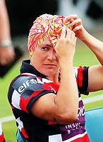 Portia Woodman adjusts her bandanna. Auckland v Counties Manukau Women on day two of the 2018 Bayleys National Sevens at Rotorua International Stadium in Rotorua, New Zealand on Sunday, 14 January 2018. Photo: Dave Lintott / lintottphoto.co.nz