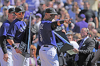 01 April 2011: Colorado Rockies shortstop Troy Tulowitzki (2) and Colorado Rockies left fielder Carlos Gonzalez (5) smile as they are awarded Louisville Slugger Silver Slugger awards before a regular season game between the Arizona Diamondbacks and the Colorado Rockies at Coors Field in Denver, Colorado. The Diamondbacks beat the Rockies 7-6 in 11 innings.    *****For Editorial Use Only*****