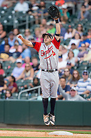 Gwinnett Braves first baseman Sean Kazmar (9) jumps for a high throw during the game against the Charlotte Knights at BB&T BallPark on May 22, 2016 in Charlotte, North Carolina.  The Knights defeated the Braves 9-8 in 11 innings.  (Brian Westerholt/Four Seam Images)