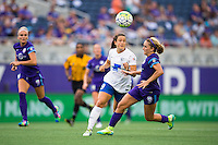 Orlando, FL - Sunday July 10, 2016: Stephanie McCaffrey, Camille Levin during a regular season National Women's Soccer League (NWSL) match between the Orlando Pride and the Boston Breakers at Camping World Stadium.