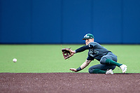 Michigan State Spartans shortstop Marty Bechina (2) fields a ground ball in the NCAA baseball game against the Michigan Wolverines on May 7, 2019 at Ray Fisher Stadium in Ann Arbor, Michigan. Michigan defeated Michigan State 7-0. (Andrew Woolley/Four Seam Images)