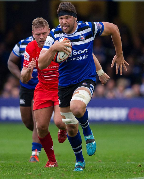 Bath Rugby's Charlie Ewels in action during todays match<br /> <br /> Photographer Bob Bradford/CameraSport<br /> <br /> Premiership Rugby Cup Round Three - Bath Rugby v Leicester Tigers - Saturday 5th October 2019 - The Recreation Ground - Bath<br /> <br /> World Copyright © 2018 CameraSport. All rights reserved. 43 Linden Ave. Countesthorpe. Leicester. England. LE8 5PG - Tel: +44 (0) 116 277 4147 - admin@camerasport.com - www.camerasport.com