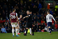 7th March 2020; Turf Moor, Burnley, Lanchashire, England; English Premier League Football, Burnley versus Tottenham Hotspur;  Referee Jonathan Moss points to the spot after Ben Mee of Burnley brings down Erik Lamela of Tottenham Hotspur in the area