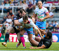 St Helens' Louie McCarthy-Scarsbrook is tackled by Widnes Vikings's Hep Cahill and Greg Burke<br /> <br /> Photographer Alex Dodd/CameraSport<br /> <br /> Betfred Super League Round 15 - Magic Weekend - Widnes Vikings v St Helens - Saturday 19th May 2018 - St James' Park - Newcastle<br /> <br /> World Copyright &copy; 2018 CameraSport. All rights reserved. 43 Linden Ave. Countesthorpe. Leicester. England. LE8 5PG - Tel: +44 (0) 116 277 4147 - admin@camerasport.com - www.camerasport.com
