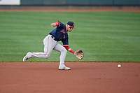 Portland Sea Dogs second baseman Brett Netzer (3) fields a ground ball during an Eastern League game against the Erie SeaWolves on June 17, 2019 at UPMC Park in Erie, Pennsylvania.  Portland defeated Erie 6-3.  (Mike Janes/Four Seam Images)