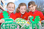 Holy Cross NS pupils l-r: Kiah Doona, Me?abh Crowley and Amy O'Callaghan who are preparing for the Killarney St Patrick's day parade on Thursday