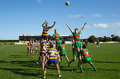 Emonn Wallbutton looks to secure the ball at a lineout for Patumahoe. Counties Manukau Under 85kg Rugby game between Waiuku and Patumahoe, played at Waiuku on Saturday July 27th 2019. Waiuku won the game 30 - 22 after trailing 5 - 8 at halftime.<br /> Photo by Richard Spranger.
