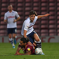 Preston North End's Tom Bayliss battles with Bradford City's Sean Scannell<br /> <br /> Photographer Dave Howarth/CameraSport<br /> <br /> The Carabao Cup First Round - Bradford City v Preston North End - Tuesday 13th August 2019 - Valley Parade - Bradford<br />  <br /> World Copyright © 2019 CameraSport. All rights reserved. 43 Linden Ave. Countesthorpe. Leicester. England. LE8 5PG - Tel: +44 (0) 116 277 4147 - admin@camerasport.com - www.camerasport.com