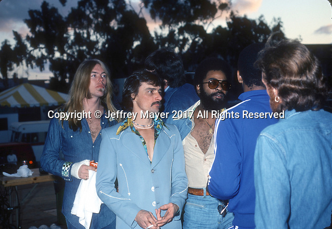 "SAN DIEGO, CA - JANUARY 28: Gregg Allman, Dickey Betts and Jai Johanny ""Jaimoe"" Johanson live in concert with the Allman Brothers Band at Balboa Stadium on October 12, 1975 in San Diego, California."