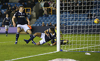 Blackburn Rovers' Joe Nuttall (hidden by post) scores his side's first goal  <br /> <br /> Photographer Rob Newell/CameraSport<br /> <br /> The EFL Sky Bet Championship - Millwall v Blackburn Rovers - Saturday 12th January 2019 - The Den - London<br /> <br /> World Copyright &copy; 2019 CameraSport. All rights reserved. 43 Linden Ave. Countesthorpe. Leicester. England. LE8 5PG - Tel: +44 (0) 116 277 4147 - admin@camerasport.com - www.camerasport.com