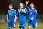 St Johnstone v Motherwell....26.01.11  .Danny Grainger and Steven Anderson celebrate at full time.Picture by Graeme Hart..Copyright Perthshire Picture Agency.Tel: 01738 623350  Mobile: 07990 594431