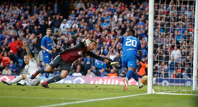 09.08.18 Rangers v Maribor: Alfredo Morelos taps into an empty net