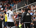 Valencia CF's    Alvaro Negredo and coach Gary Neville   during La Liga match. January 31, 2016. (ALTERPHOTOS/Javier Comos)