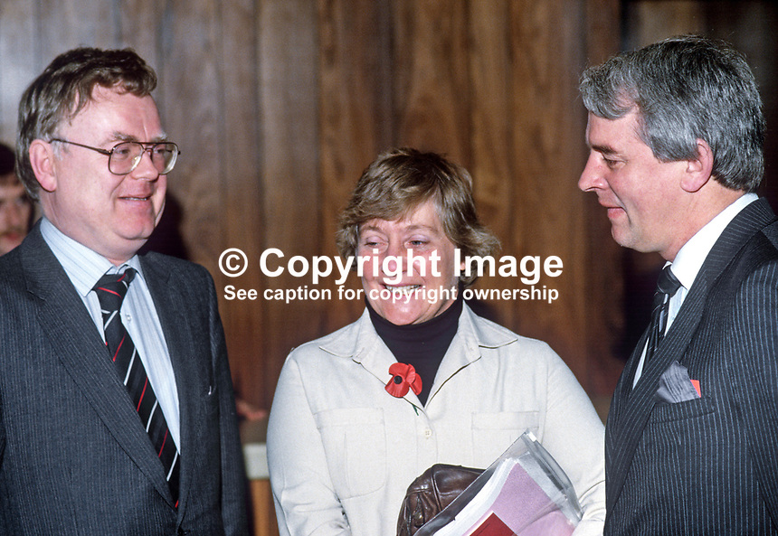 Shirley Williams, president, Social Democratic Party, UK, attendee at annual conference, SDLP, Social Democratic &amp; Labour Party, N Ireland. With her are Ben Caraher, prominent member, SDLP, left, and Austin Currie, member, N Ireland Assembly. 19851107SW2.<br /> <br /> Copyright Image from Victor Patterson,<br /> 54 Dorchester Park, <br /> Belfast, UK, BT9 6RJ<br /> <br /> t1: +44 28 9066 1296 (from Rep of Ireland 048 9066 1296)<br /> t2: +44 28 9002 2446 (from Rep of Ireland 048 9002 2446)<br /> <br /> m: +44 7802 353836<br /> <br /> e: victorpatterson@me.com<br /> www.victorpatterson.com<br /> <br /> Please see my Terms and Conditions of Use at www.victorpatterson.com. It is IMPORTANT that you familiarise yourself with them.<br /> <br /> Images used on the Internet must be visibly watermarked i.e. &copy; Victor Patterson<br /> within the body of the image and copyright metadata must not be deleted. Images <br /> used on the Internet have a size restriction of 4kbs and will be chargeable at current<br />  NUJ rates unless agreed otherwise.<br /> <br /> This image is only available for the use of the download recipient i.e. television station, newspaper, magazine, book publisher, etc, and must not be passed on to any third <br /> party. It is also downloaded on condition that each and every usage is notified within 7 days to victorpatterson@me.com<br /> <br /> The right of Victor Patterson to be identified as the author is asserted in accordance with The Copyright Designs And Patents Act (1988). All moral rights are asserted.