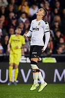 30th November 2019; Mestalla, Valencia, Spain; La Liga Football,Valencia versus Villareal; Rodrigo Moreno of Valencia CF in discomfort with a muscle injury - Editorial Use